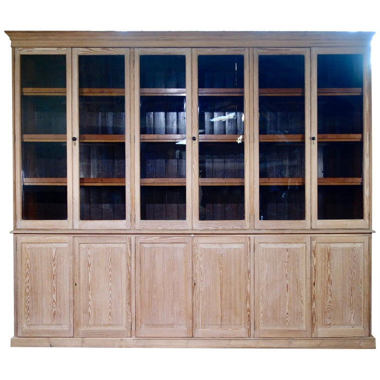 19th c Exceptionally Large Glazed Bleached Bookcase Display Cabinet Shop  Kitchen
