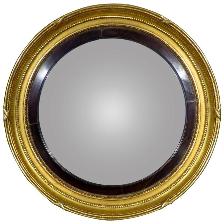 Exceptionally Large Georgian Giltwood Bullseye Convex Mirror, English Circa 1820