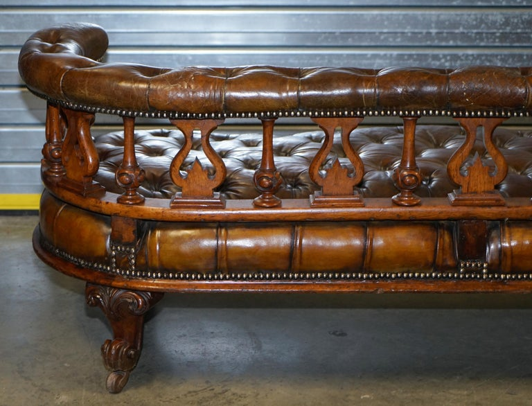 Exceptionally Rare 1840s Fully Restored Chesterfield Brown Leather Sofa Bench 10