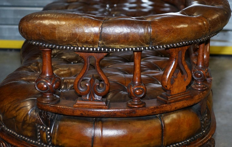 Exceptionally Rare 1840s Fully Restored Chesterfield Brown Leather Sofa Bench 13