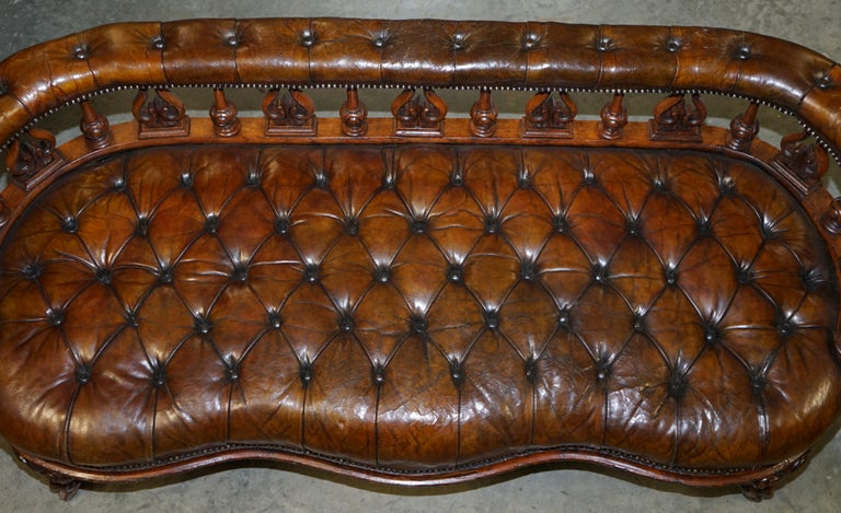 Hand-Crafted Exceptionally Rare 1840s Fully Restored Chesterfield Brown Leather Sofa Bench
