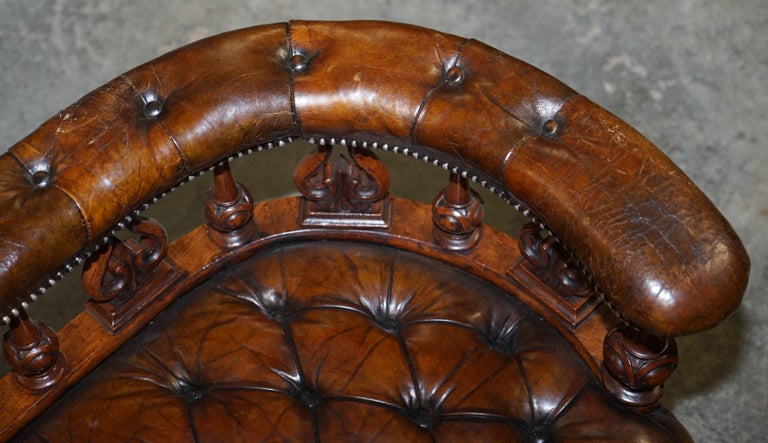 Mid-19th Century Exceptionally Rare 1840s Fully Restored Chesterfield Brown Leather Sofa Bench