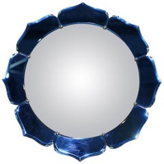 Exceptionally Rare Art Deco Cobalt Blue Convex Wall Floral Mirror Sublime Find