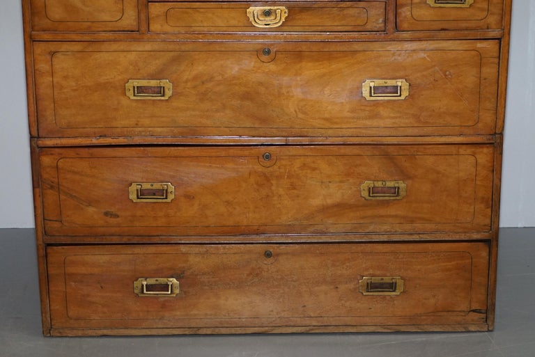 Exceptionally Rare circa 1860 Walnut Military Officers Campaign Chest of Drawers For Sale 4