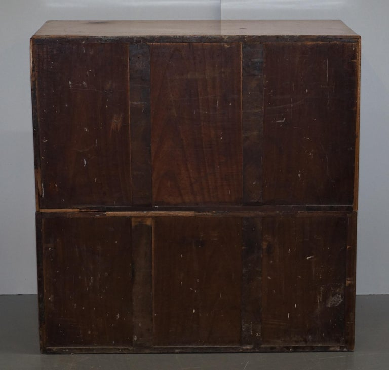 Exceptionally Rare circa 1860 Walnut Military Officers Campaign Chest of Drawers For Sale 5