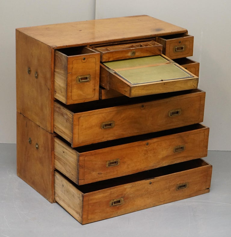 Exceptionally Rare circa 1860 Walnut Military Officers Campaign Chest of Drawers For Sale 7