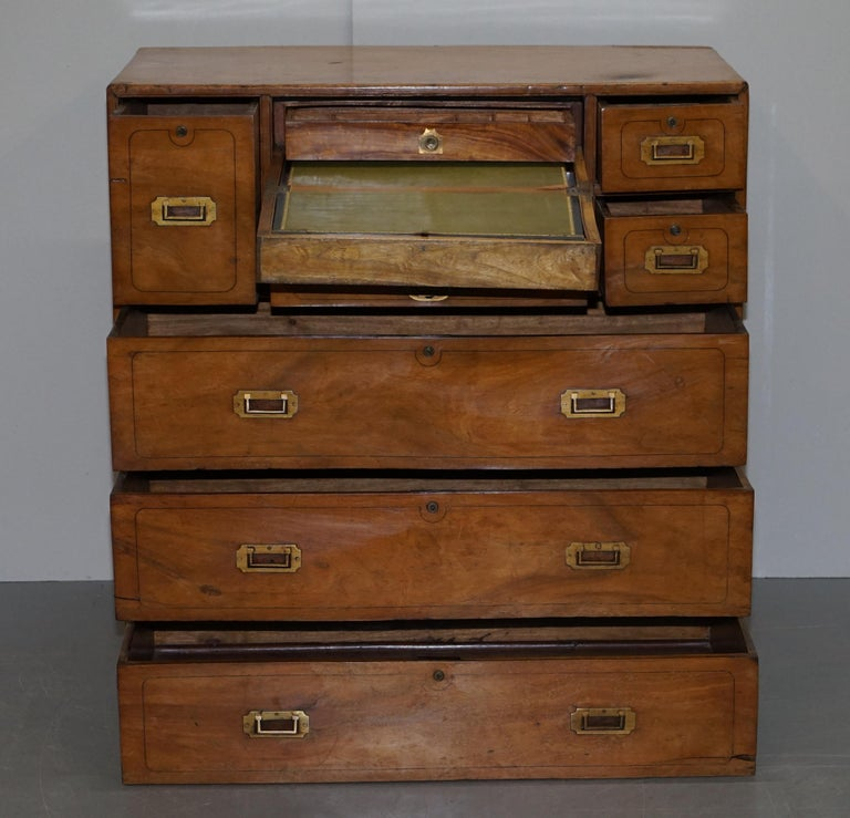 Exceptionally Rare circa 1860 Walnut Military Officers Campaign Chest of Drawers For Sale 8