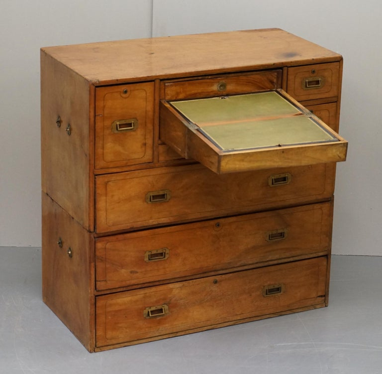 Exceptionally Rare circa 1860 Walnut Military Officers Campaign Chest of Drawers For Sale 10