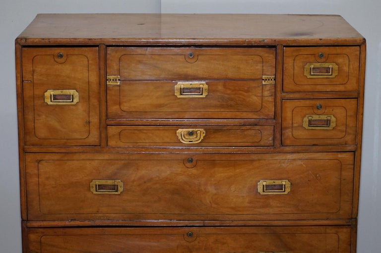 Exceptionally Rare circa 1860 Walnut Military Officers Campaign Chest of Drawers For Sale 1