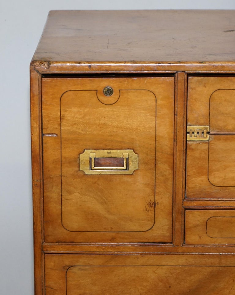 Exceptionally Rare circa 1860 Walnut Military Officers Campaign Chest of Drawers For Sale 2