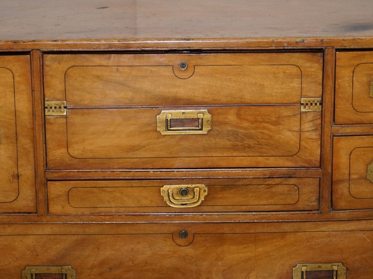 Exceptionally Rare circa 1860 Walnut Military Officers Campaign Chest of Drawers For Sale 3