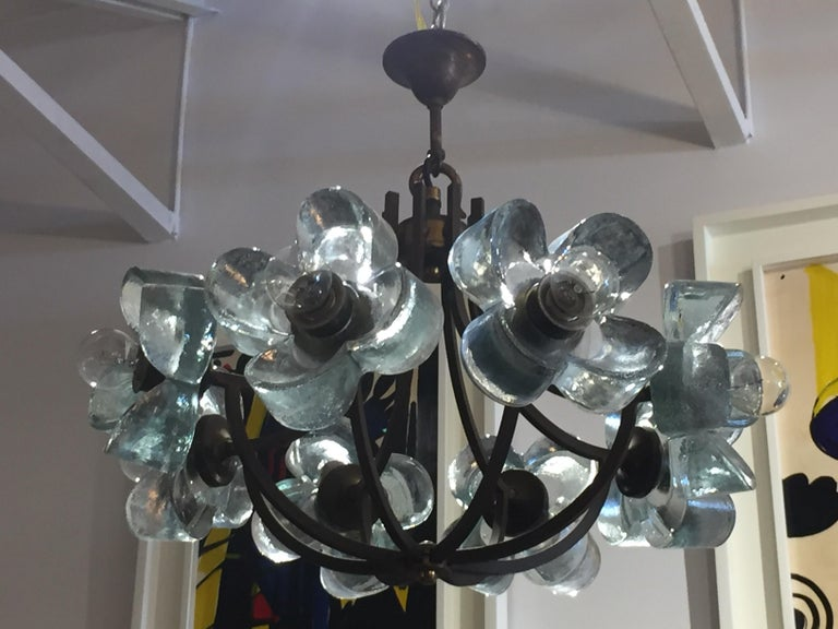 Exceptionally Rare Glass Daisy Chandelier For Sale 2