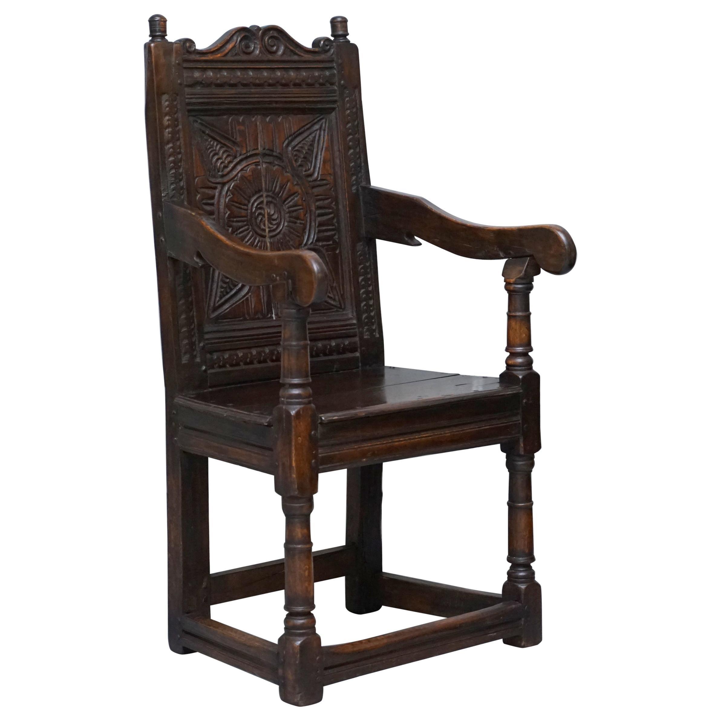 Exceptionally Rare Original 17th Century Wainscot Armchair Northern England Oak