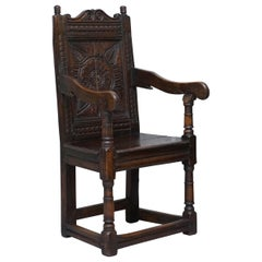 Exceptionally Rare Original 17th Century Wainscot Armchair Northern England Oak