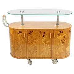 Exceptionell Bar Cart by Erik Mattsson 1939 for Mjölby Intarsia, Sweden