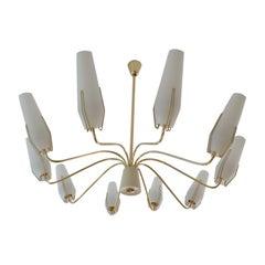"Exceptionnal 1950s 36"" Brass and Glass Sputnik Chandelier, Stilnovo Style"