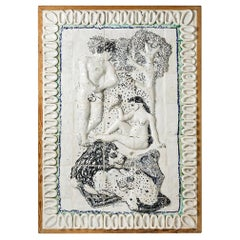 Exceptionnal Ceramic Wall Pannel by Guidette Carbonell, Adam & Eve, 1936