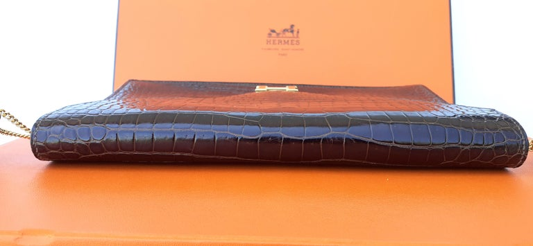 Exceptionnal Hermès Lydie Bag Clutch Brown Crocodile and Matching Card Holder For Sale 9