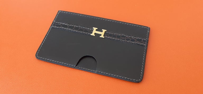 Exceptionnal Hermès Lydie Bag Clutch Brown Crocodile and Matching Card Holder For Sale 11