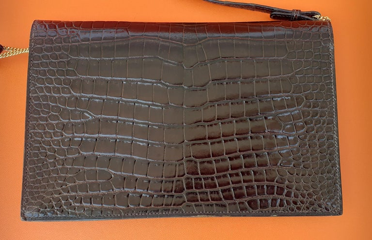 Exceptionnal Hermès Lydie Bag Clutch Brown Crocodile and Matching Card Holder For Sale 14