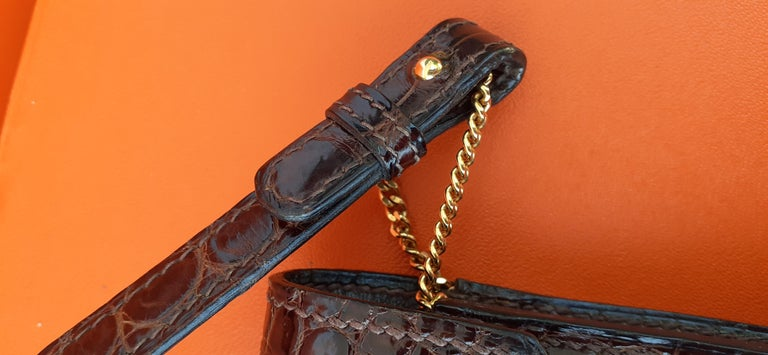 Black Exceptionnal Hermès Lydie Bag Clutch Brown Crocodile and Matching Card Holder For Sale