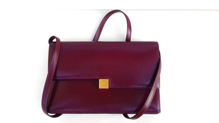 Exceptionnal Rare Vintage Hermès Padlock Purse Clutch Bag Burgundy Leather Ghw For Sale 12
