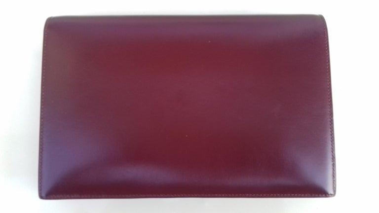 Black Exceptionnal Rare Vintage Hermès Padlock Purse Clutch Bag Burgundy Leather Ghw For Sale
