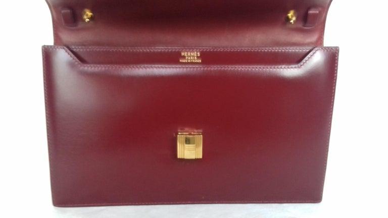 Exceptionnal Rare Vintage Hermès Padlock Purse Clutch Bag Burgundy Leather Ghw For Sale 1