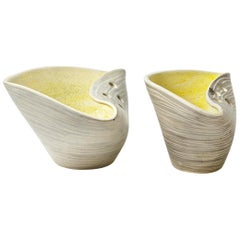 Exceptionnal Set of Two Large Cermic Cups by Mado Jolain French Ceramic, 1950