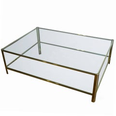 Exceptional Large Coffee Table from Jacques Quinet in Bronze and Glass