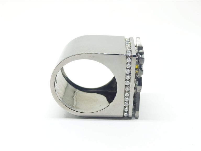 Round Cut Exceptions Exult with Colored Diamond One of a Kind Black Gold Cocktail Ring For Sale