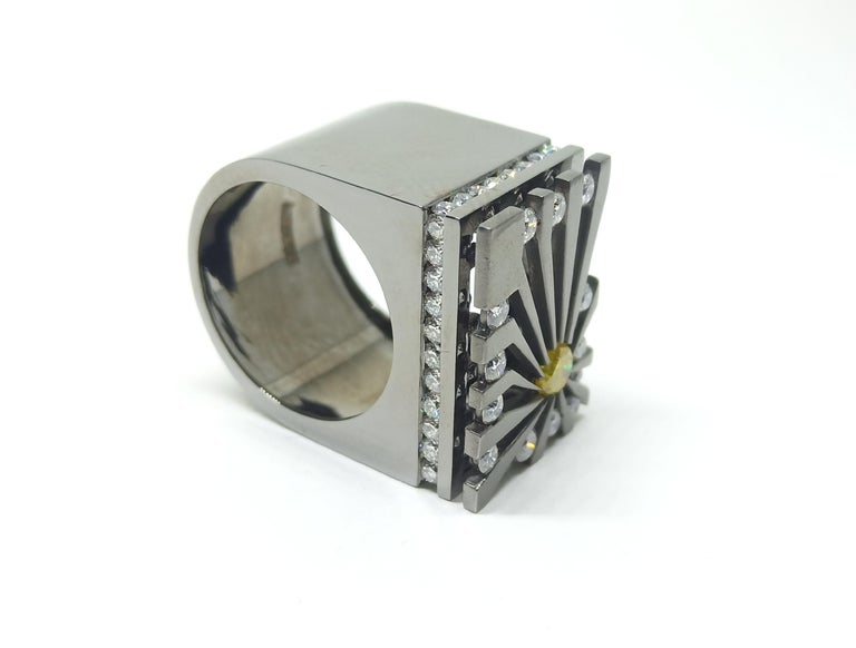 Women's Exceptions Exult with Colored Diamond One of a Kind Black Gold Cocktail Ring For Sale