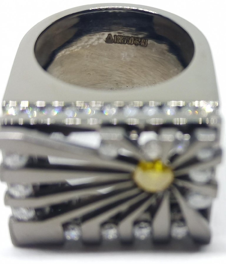 Exceptions Exult with Colored Diamond One of a Kind Black Gold Cocktail Ring For Sale 1
