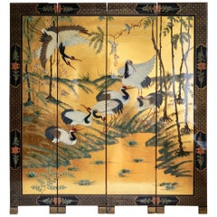 Exciting Early 19th Century Gold Leaf Four-Panel Screen Crane Birds