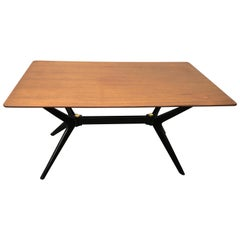 Exciting Ico Parisi Style Sculpted X Base Dining Table Mid-Century Modern