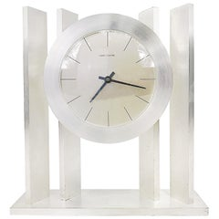 Exclusiv French Hour Lavigne Silvered Automatic Table Clock, 1960s, France