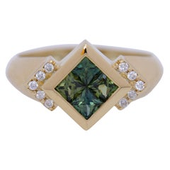 Exclusive 18 Karat Gold 1.1 Carat Unheated Green Sapphire Princess Cut Ring