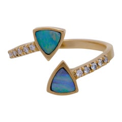 Exclusive 18 Karat Yellow Gold 0.5 Carat Opal and Diamond Pavé Ring Sustainable