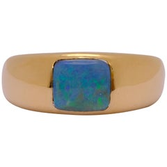 Exclusive 18 Karat Yellow Gold 2 Carat Blue Boulder Opal Square Cut Dome Ring