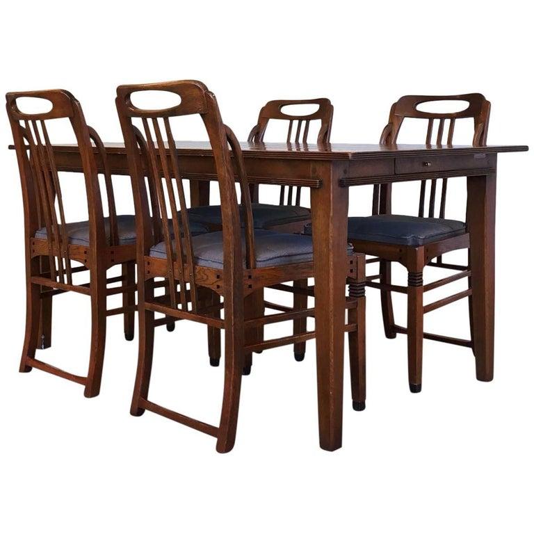 Exclusive and Elegant Art Deco Style Dining Room Set by Schuitema en Zonen For Sale