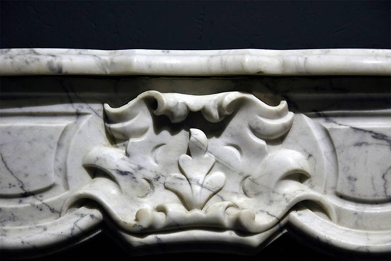 Carrara Marble Exclusive Antique Marble Fireplace Louis XV Mantel 19th Century For Sale