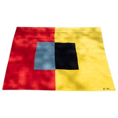 Exclusive Artistic Rug by Contemporary Artist Ellen Richman, Red and Yellow