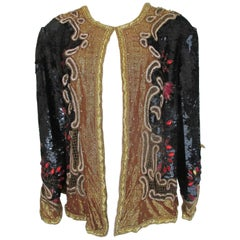 Exclusive Black and Gold Sequin Evening Jacket