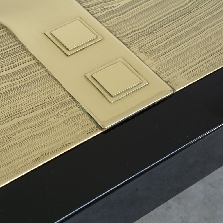 Brass Exclusive Coffee Table by Jean-Claude Dresse For Sale