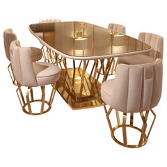 Exclusive Contemporary Gold-Plated Signature Dining Table Set