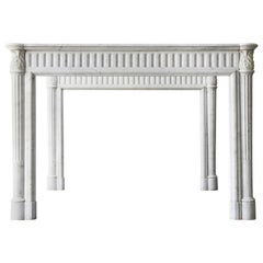 Unique Couple 19th Century Louis XVI Carrara Marble Fireplace Surrounds