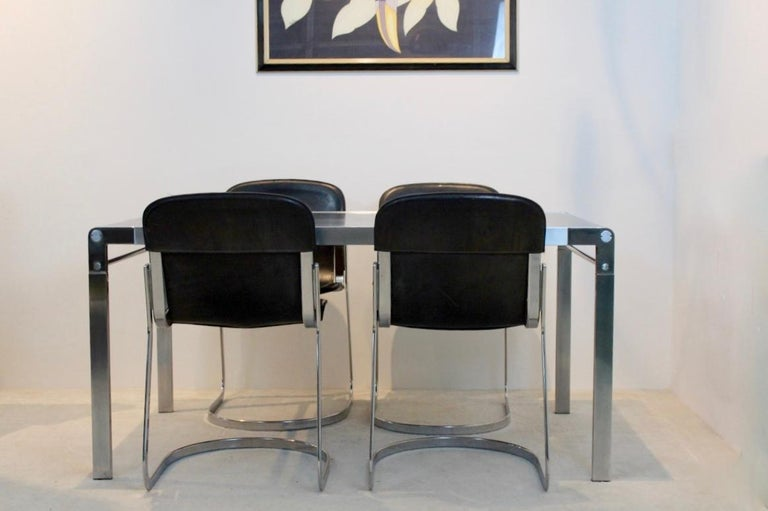 Belgian Exclusive Dining Room Set with Willy Rizzo Leather Chairs and 'T Spectrum Table For Sale