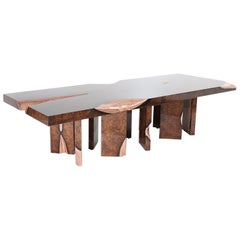 Exclusive Dining Table with Poplar Roots Hand Hammered Copper Inlays