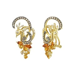 Exclusive Fine Jewelry Citrine / Yellow Topaz / White Diamond Gold Earrings