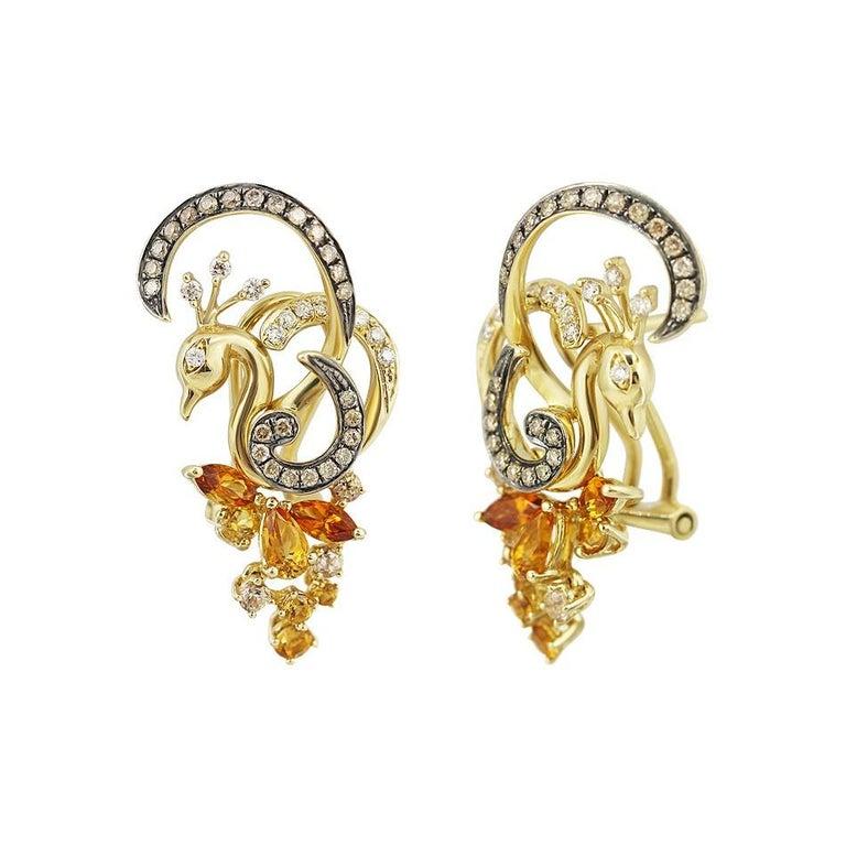 Women's Exclusive Fine Jewelry Citrine / Yellow Topaz / White Diamond Gold Ring For Sale